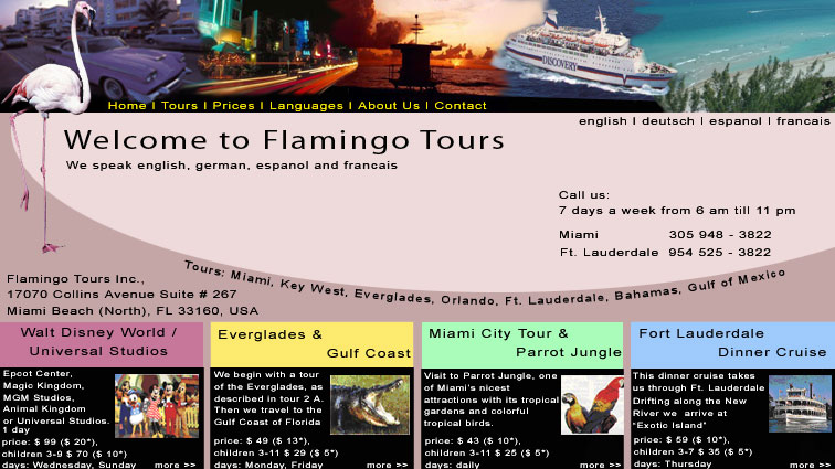 Flamingo Tours, Inc. Website