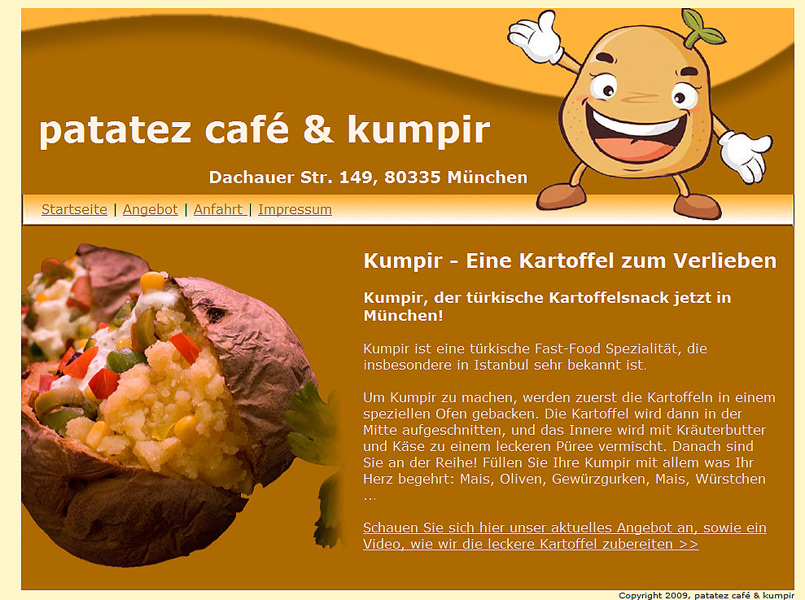Cafe Patatez Webseite